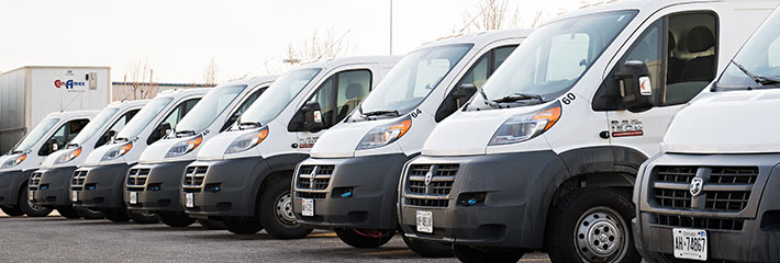 Fleet of direct store delivery trucks