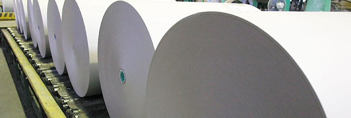 Large rolls of paper in one of our storage facilities